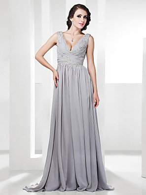 cheap Special Occasion Dresses-Sheath / Column All Celebrity Styles Open Back Formal Evening Military Ball Dress V Neck Sleeveless Sweep / Brush Train Chiffon with Criss Cross Beading Appliques 2020
