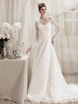cheap Wedding Dresses-Princess A-Line Wedding Dresses Jewel Neck Court Train Lace Satin Long Sleeve with 2020 / Illusion Sleeve