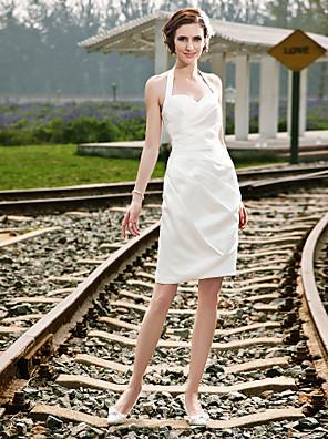 cheap Bridesmaid Dresses-Sheath / Column Wedding Dresses Halter Neck Short / Mini Satin Regular Straps Little White Dress with Side-Draped 2020