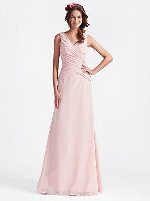cheap Bridesmaid Dresses-A-Line / Ball Gown V Neck Floor Length Chiffon Bridesmaid Dress with Criss Cross / Open Back