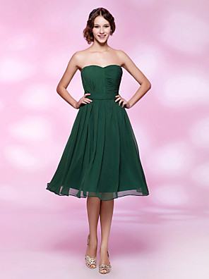 cheap Cocktail Dresses-Back To School A-Line Open Back Cute Holiday Homecoming Cocktail Party Dress Sweetheart Neckline Sleeveless Knee Length Chiffon with Sash / Ribbon 2020 Hoco Dress