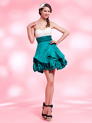 cheap Special Occasion Dresses-Back To School Ball Gown Homecoming Cocktail Party Sweet 16 Dress Strapless Sweetheart Neckline Sleeveless Short / Mini Satin with Pick Up Skirt Bow(s) Ruched 2020 Hoco Dress