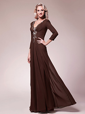 cheap Prom Dresses-A-Line Mother of the Bride Dress V Neck Floor Length Chiffon 3/4 Length Sleeve with Beading Side Draping 2020