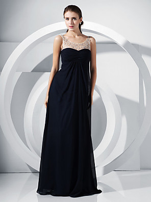cheap Special Occasion Dresses-Ball Gown Elegant Formal Evening Military Ball Dress Scoop Neck Sleeveless Floor Length Chiffon with Lace Beading Draping 2020