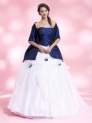 cheap Special Occasion Dresses-Ball Gown Quinceanera Prom Formal Evening Dress Strapless Sleeveless Floor Length Organza Taffeta with Pick Up Skirt Crystals Beading 2020