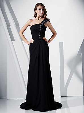 cheap Special Occasion Dresses-Sheath / Column Formal Evening Dress One Shoulder Sleeveless Sweep / Brush Train Chiffon Stretch Satin with Beading Side Draping 2020
