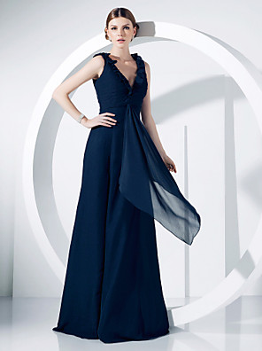 cheap Wedding Wraps-Ball Gown Elegant Formal Evening Military Ball Dress V Neck Sleeveless Floor Length Chiffon with Ruched Ruffles Draping 2020