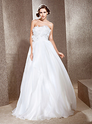 cheap Wedding Dresses-Princess A-Line Wedding Dresses Strapless Floor Length Organza Satin Sleeveless with 2020