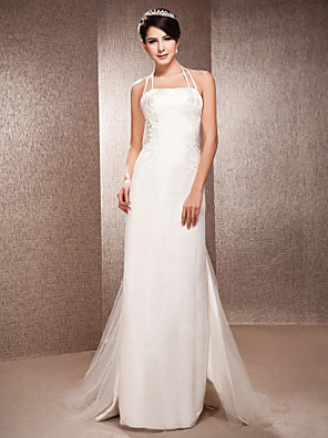 cheap Mother of the Bride Dresses-Sheath / Column Wedding Dresses Halter Neck Floor Length Satin Tulle Sleeveless with 2020 / Removable train