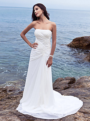 cheap Free Shipping-Sheath / Column Wedding Dresses Strapless Court Train Chiffon Strapless Beach Plus Size with Side-Draped 2020