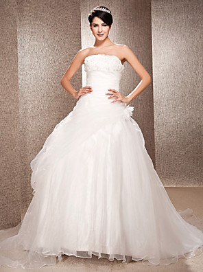 cheap Wedding Dresses-Ball Gown A-Line Wedding Dresses Strapless Court Train Organza Sleeveless with 2020