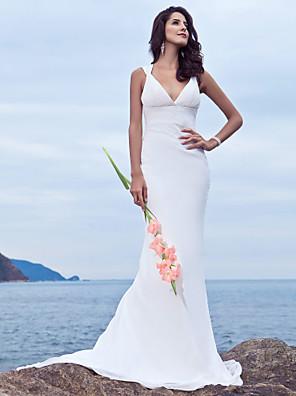 cheap Wedding Dresses-Mermaid / Trumpet Wedding Dresses V Neck Sweep / Brush Train Chiffon Regular Straps Beach Backless with Beading 2020