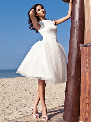 cheap Wedding Dresses-A-Line Wedding Dresses Bateau Neck Knee Length Satin Tulle Cap Sleeve Simple Casual Vintage Plus Size Cute with Draping 2020 / Beach / Destination
