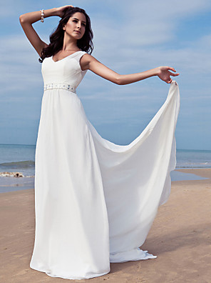 cheap Wedding Dresses-Sheath / Column Wedding Dresses V Neck Floor Length Chiffon Regular Straps Simple Beach Plus Size with Sash / Ribbon Beading 2020 / Removable train