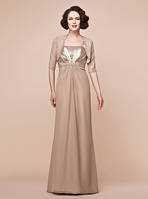 cheap Mother of the Bride Dresses-Sheath / Column Mother of the Bride Dress Wrap Included Straps Floor Length Chiffon Stretch Satin Half Sleeve with Beading Draping Side Draping 2020