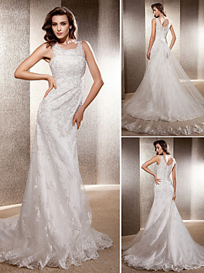 cheap Wedding Dresses-Mermaid / Trumpet Wedding Dresses Scoop Neck Sweep / Brush Train Lace Tulle Sleeveless with 2020