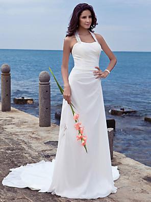 cheap Wedding Dresses-Sheath / Column Wedding Dresses Halter Neck Court Train Chiffon Regular Straps Beach Backless with Appliques 2020