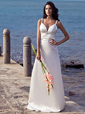 cheap Mother of the Bride Dresses-Sheath / Column Wedding Dresses Sweetheart Neckline Sweep / Brush Train Stretch Satin Spaghetti Strap Open Back with Beading 2020