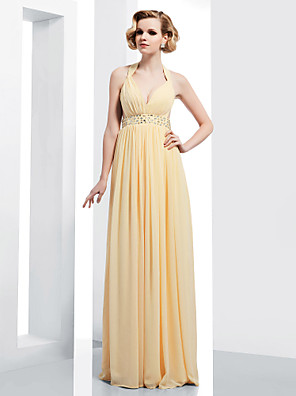 cheap Special Occasion Dresses-Sheath / Column Open Back Prom Formal Evening Military Ball Dress Straps V Neck Sleeveless Floor Length Chiffon with Crystals Beading Draping 2020