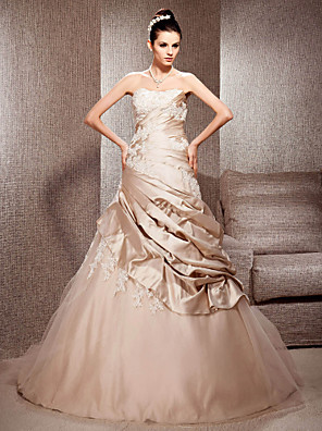 cheap Wedding Dresses-Ball Gown Wedding Dresses Strapless Court Train Satin Tulle Sleeveless Wedding Dress in Color with 2020