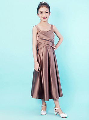 cheap Wedding Dresses-Princess / A-Line Straps / Sweetheart Neckline Tea Length Satin Junior Bridesmaid Dress with Criss Cross / Draping / Spring / Summer / Fall / Apple / Hourglass