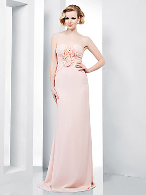 cheap Special Occasion Dresses-Sheath / Column Floral Open Back Formal Evening Military Ball Dress Strapless Sweetheart Neckline Sleeveless Floor Length Chiffon with Side Draping Flower 2020