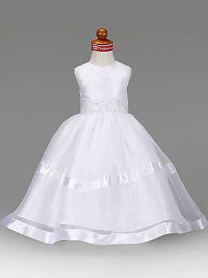cheap Wedding Party Dresses-Princess / A-Line Floor Length First Communion / Wedding Party Organza / Taffeta Sleeveless Jewel Neck with Beading / Draping / Appliques