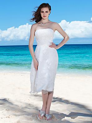 cheap Bridesmaid Dresses-Sheath / Column Wedding Dresses Strapless Tea Length Organza Sleeveless Little White Dress with 2020