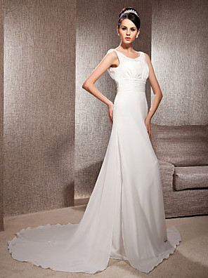 cheap Wedding Dresses-Sheath / Column Wedding Dresses Scoop Neck Court Train Chiffon Sleeveless with 2020