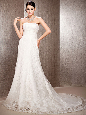 cheap Wedding Dresses-Princess A-Line Wedding Dresses Sweetheart Neckline Court Train Lace Sleeveless Floral Lace with Sash / Ribbon Ruched Beading 2020