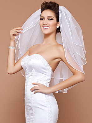 cheap Bridesmaid Dresses-Three-tier Pencil Edge / Pearl Trim Edge Wedding Veil Elbow Veils with Beading 31.5 in (80cm) Tulle A-line, Ball Gown, Princess, Sheath / Column, Trumpet / Mermaid / Classic
