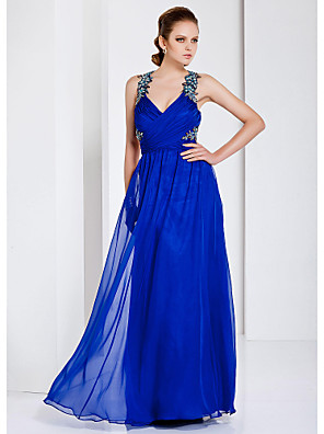 cheap Prom Dresses-Sheath / Column Elegant Open Back Prom Formal Evening Military Ball Dress Straps V Neck Sleeveless Floor Length Chiffon with Criss Cross Beading Draping 2020