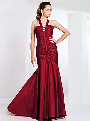 cheap Evening Dresses-Mermaid / Trumpet Elegant Prom Formal Evening Military Ball Dress Straps Sleeveless Sweep / Brush Train Taffeta with Ruffles Draping Side Draping 2020