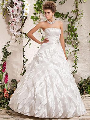 cheap Wedding Wraps-Ball Gown Wedding Dresses Strapless Floor Length Taffeta Sleeveless with Beading Cascading Ruffle Criss-Cross 2020