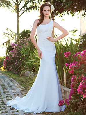 cheap Wedding Dresses-Mermaid / Trumpet Wedding Dresses One Shoulder Court Train Chiffon Sleeveless with 2020