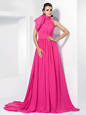 cheap Evening Dresses-A-Line Celebrity Style Pink Engagement Formal Evening Dress High Neck Sleeveless Court Train Chiffon with Bow(s) 2020