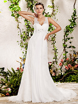 cheap Wedding Dresses-Sheath / Column Wedding Dresses V Neck Chapel Train Lace Sleeveless with 2020