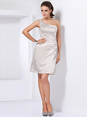 cheap Cocktail Dresses-Back To School Sheath / Column Homecoming Cocktail Party Dress One Shoulder Sleeveless Short / Mini Stretch Satin with Beading 2020 Hoco Dress