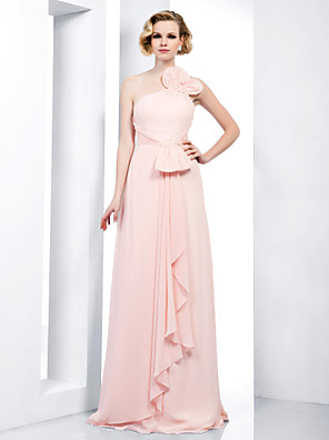 cheap Special Occasion Dresses-Sheath / Column Elegant Open Back Prom Formal Evening Military Ball Dress One Shoulder Spaghetti Strap Sleeveless Floor Length Chiffon with Bow(s) Beading Sequin 2020