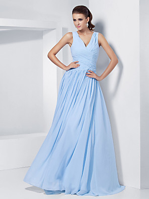 cheap Special Occasion Dresses-Ball Gown Elegant Prom Formal Evening Military Ball Dress V Neck Sleeveless Floor Length Chiffon with Criss Cross Beading 2020