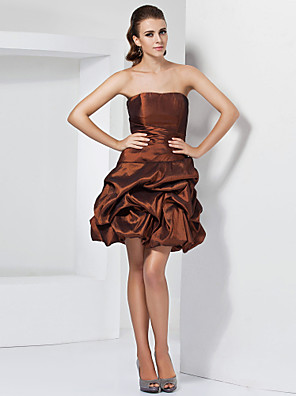 cheap Special Occasion Dresses-Ball Gown A-Line Homecoming Cocktail Party Dress Strapless Sleeveless Short / Mini Taffeta with Pick Up Skirt Side Draping 2020