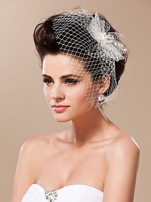 cheap Prom Dresses-One-tier Cut Edge Wedding Veil Blusher Veils / Birdcage Veils with Tulle