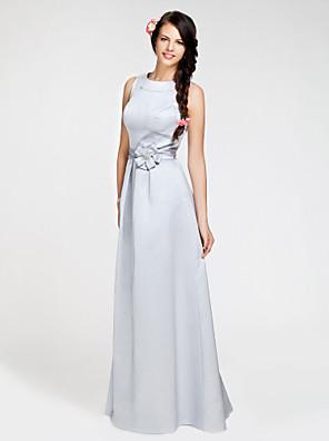 cheap Bridesmaid Dresses-Ball Gown / A-Line Bateau Neck Floor Length Satin Bridesmaid Dress with Sash / Ribbon / Flower
