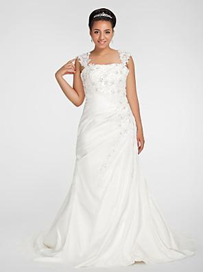 cheap Wedding Dresses-Mermaid / Trumpet Wedding Dresses Square Neck Court Train Chiffon Regular Straps Vintage Sparkle & Shine Plus Size with Beading Appliques Side-Draped 2020