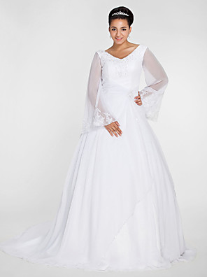 cheap Wedding Dresses-Ball Gown A-Line Wedding Dresses V Neck Court Train Chiffon Long Sleeve Formal Plus Size Illusion Sleeve with Beading Appliques 2020 / Bell Sleeve