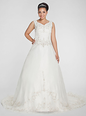 cheap Wedding Dresses-Ball Gown Wedding Dresses V Neck Court Train Organza Beaded Lace Regular Straps Formal Plus Size with Beading Embroidery 2020