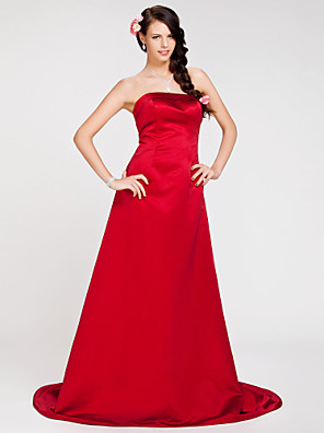cheap Bridesmaid Dresses-Princess / A-Line Strapless Sweep / Brush Train Satin Bridesmaid Dress with