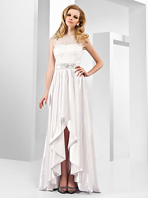 cheap Special Occasion Dresses-A-Line Elegant Celebrity Style All Celebrity Styles Formal Evening Dress Jewel Neck Sleeveless Asymmetrical Stretch Satin with Lace Crystals 2020 / High Low