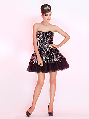 cheap Special Occasion Dresses-Back To School Ball Gown Sparkle & Shine Holiday Homecoming Cocktail Party Dress Strapless Sweetheart Neckline Sleeveless Short / Mini Taffeta Sequined with Sequin 2020 / Prom Hoco Dress