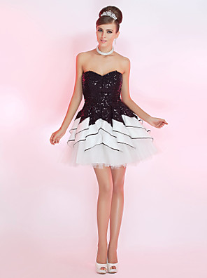 cheap Special Occasion Dresses-Back To School Ball Gown Sparkle & Shine Homecoming Cocktail Party Prom Dress Strapless Sweetheart Neckline Sleeveless Short / Mini Sequined with Sequin Ruffles 2020 Hoco Dress